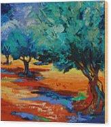 The Olive Trees Dance Wood Print