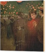 The Open Air Party Wood Print by Ramon Casas i Carbo