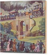 The Opening Of The Stockton And Darlington Railway Macmillan Poster Wood Print by Norman Howard