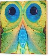 The Owl - Abstract Bird Art By Sharon Cummings Wood Print