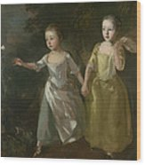 The Painter's Daughters Chasing A Butterfly Wood Print