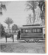 The Palm Beach Trolley Wood Print