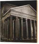 The Pantheon At Night Wood Print