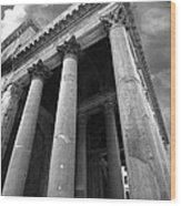 The Pantheon In Rome Bw Wood Print