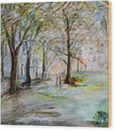 The Park Bench Wood Print