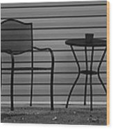 The Patio Chairs In Black And White Wood Print