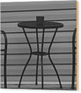 The Patio In Black And White Wood Print by Rob Hans