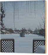 The Patio In Winter Wood Print