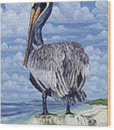 The Pelican Perch Wood Print