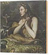 The Penitent Magdalene By Domenico Tintoretto Wood Print