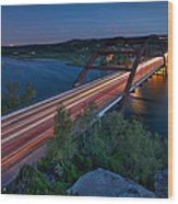 The Pennybacker Bridge At Twilight Wood Print