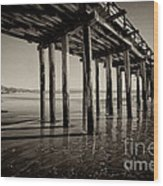 The Pier At Cayucos Wood Print