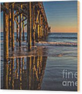 The Pier At Goleta Beach Wood Print