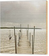 The Pier Wood Print by Beverly Cazzell