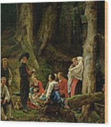 The Pilgrims From The Abbey Of St. Odile Oil On Canvas Wood Print