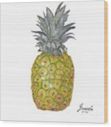 The Pineapple On White Wood Print