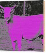 the Pink Cow Wood Print