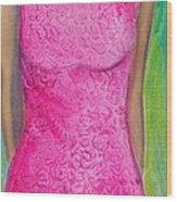 The Pink Dress Wood Print