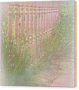 The Pink Fence Wood Print