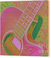My Pink Guitar Pop Art Wood Print