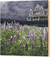 The Pink House In The Lupine Wood Print
