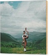 The Piper At The Great Glen Wood Print
