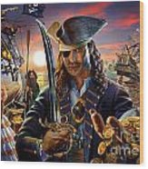 The Pirate Wood Print by Adrian Chesterman