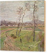The Plain At Gennevilliers Wood Print by Claude Monet