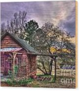 The Play House At Sunset Near Lake Oconee. Wood Print