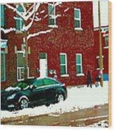 The Point Pointe St Charles Snowy Walk Past Red Brick House Winter City Scene Carole Spandau Wood Print