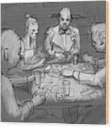 The Poker Game Wood Print