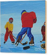 The Pond Hockey Game Wood Print
