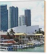 The Port Of Miami At Bayside Wood Print