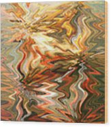Gray And Orange Peaceful Abstract Art Wood Print