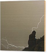 The Praying Monk Lightning Strike Wood Print
