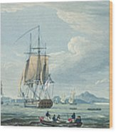 The Prometheus And The Melpomene In The Gulf Of Riga Wood Print by Thomas Whitcombe