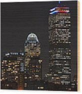 The Prudential Lit Up In Red White And Blue Wood Print