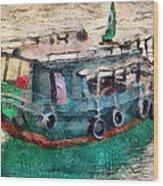 The Pulling Boat  Wood Print