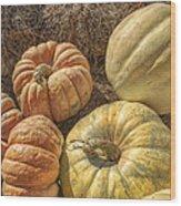 The Pumpkins Of Autumn Wood Print