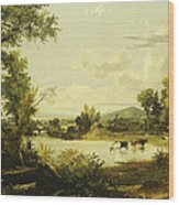 The Quiet Valley Wood Print by Jasper Francis Cropsey