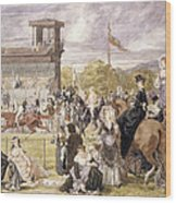 The Races At Longchamp In 1874 Wood Print