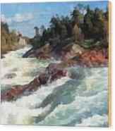 The Raging Rapids Wood Print