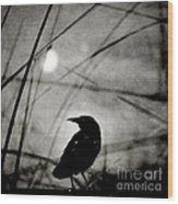The Raven And The Orb Wood Print by Sharon Coty