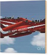 The Red Arrows Synchro Pair Wood Print