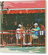 The Red Awning Cafe On St. Denis - A Shady Spot To Enjoy A Cold Beer On A Very Hot Sunday In July Wood Print