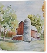 The Red Barn Wood Print by Bobbi Price
