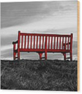 The Red Bench Wood Print