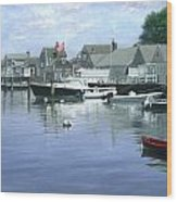 The Red Boat  Nantucket Harbor Wood Print