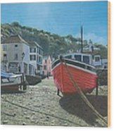The Red Boat Polperro Corwall Wood Print