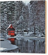 The Red Boathouse - Old Forge Ny Wood Print